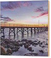 Moonta Bay Jetty Sunset Wood Print