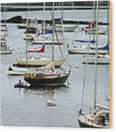 Moored At Kittery Point Maine Wood Print