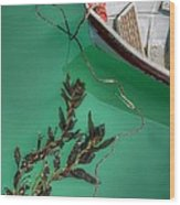 Moored Boat And Kelp Wood Print