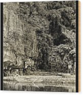 Moored Boat By The River In Tam Coc Wood Print