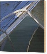 Mooring Ropes On A Fishing Boat Wood Print