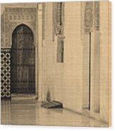 Moorish Walkway In Sepia At The Alhambra Wood Print