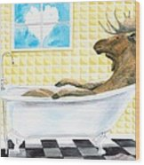 Moose Bath, Moose Painting, Moose Print, Bath Painting, Bath Print, Cottage Art Wood Print