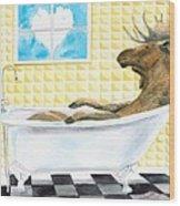 Moose Bath Wood Print