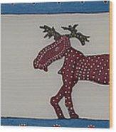 Moose Coming Home For Christmas Wood Print