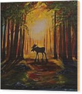 Moose Hideout Wood Print
