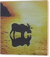 Moose In The Sunset Wood Print by Debra Piro