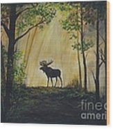 Moose Magnificent Wood Print