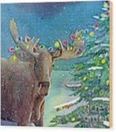 Moosey Christmas Wood Print