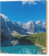 Moraine Lake At Banff National Park Wood Print