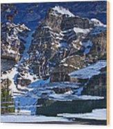 Moraine Lake Reflection Abstract Wood Print