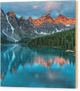 Moraine Lake Sunrise Wood Print