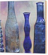 More Cobalt Blue Bottles Wood Print