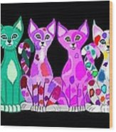 More Colorful Kitties Wood Print