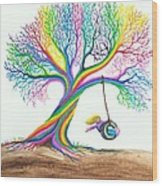 More Rainbow Tree Dreams Wood Print by Nick Gustafson