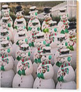 More Snowmen Wood Print