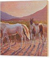 More Than Light Arizona Sunset And Wild Horses Wood Print