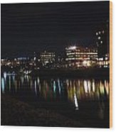 Morgantown Skyline At Night From The Waterfront Wood Print