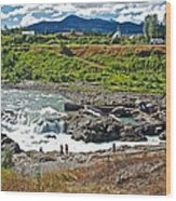 Moricetown Falls And Canyon Fishing Operation On The Bulkley River In Moricetwown-british Columbia  Wood Print