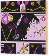 Morioka Montage In Bright Pink And Gold Wood Print