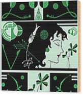 Morioka Montage In Green And Black Wood Print