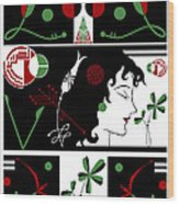 Morioka Montage In Holiday Colors Wood Print