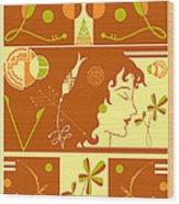 Morioka Montage In Sixties Sunshine Wood Print