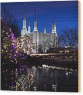 Mormon Church At Christmas Wood Print