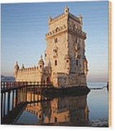 Morning At Belem Tower In Lisbon Wood Print
