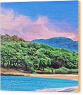 Morning At Papohaku Beach  Wood Print