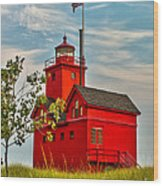 Morning At The Big Red Lighthouse Wood Print