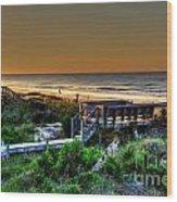 Morning Beach Wood Print