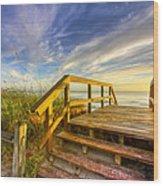 Morning Beach Walk Wood Print by Debra and Dave Vanderlaan