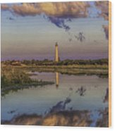 Morning Clouds At Cape May Light Wood Print