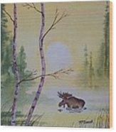 Morning Crossing Wood Print
