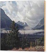 Morning East Glacier Park Wood Print