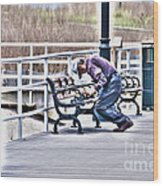 Morning Exercise On The Boardwalk Wood Print
