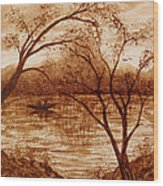 Morning Fishing Original Coffee Painting Wood Print