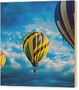 Morning Flight Hot Air Balloons Wood Print