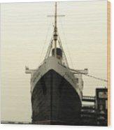 Morning Fog Queen Mary Ocean Liner Bow 02 Long Beach Ca Wood Print