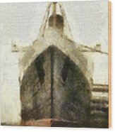 Morning Fog Queen Mary Ocean Liner Bow 03 Long Beach Ca Photo Art 02 Wood Print