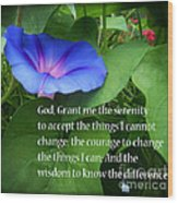 Morning Glory Serenity Prayer Wood Print