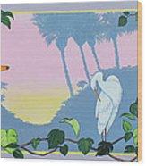 Morning Heron Wood Print