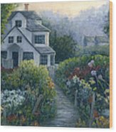Morning In A Maine Garden Wood Print