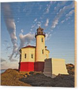 Morning Light At Coquille River Lighthouse Wood Print