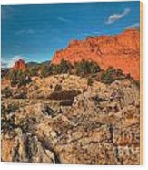 Morning Light At Garden Of The Gods Wood Print