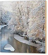 Morning Light Fresh Snowfall Gauley River Wood Print by Thomas R Fletcher