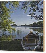 Morning Light On A Canoe Wood Print