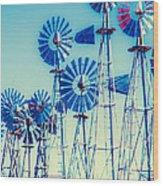 Morning Light On  The Blue Windmills Wood Print