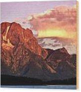 Morning Light On The Tetons Wood Print